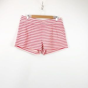 J. Crew White Red Striped Pleated Front Shorts